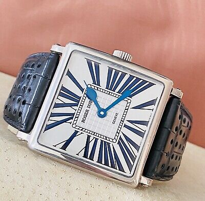 Men's Roger Dubuis Golden Square XL All 18k White Gold 40mm Watch In Box