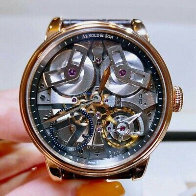 New Arnold & Son TE88 1TBAR.S01A.C113A 46mm Rose Gold Skeleton Dial Men's Watch